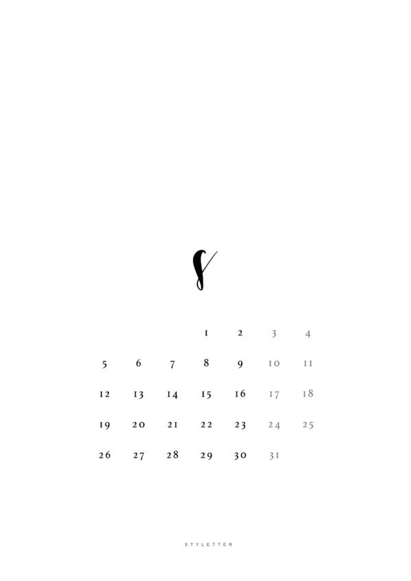 Minimalistyczny kalendarz Styletter